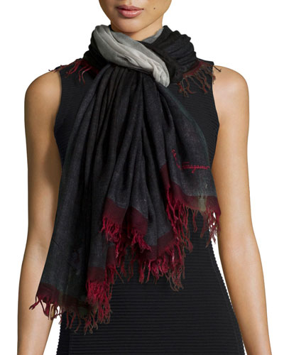 Idalia Wool Fringe Scarf, Black/Red