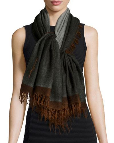 Idalia Wool Fringe Scarf, Brown/Green