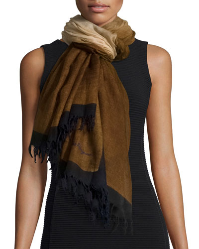Idalia Wool Fringe Scarf, Brown/Blue