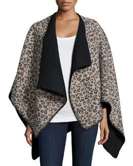 Macul Leopard-Print Reversible Poncho