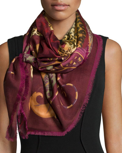 Madras Printed Scarf, Red