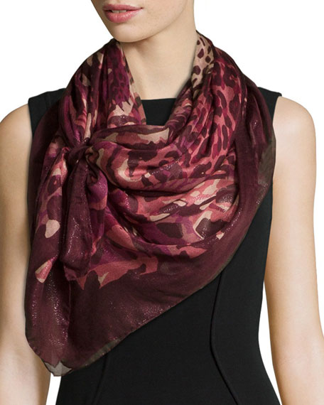 Salvatore Ferragamo Sparkle Animal-Print Shawl, Wine