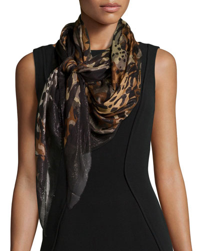 Salvatore Ferragamo Sparkle Animal-Print Shawl, Brown/Black