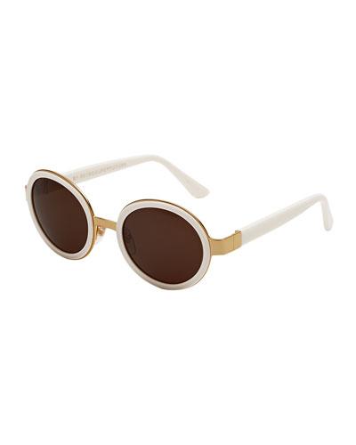 Santa Tintarella Round Sunglasses, Ivory