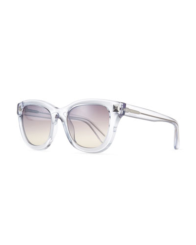 Floating Stud Square Sunglasses, Clear