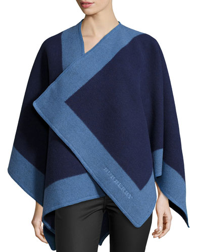 Colorblock Cashmere-Blend Cape, Blue