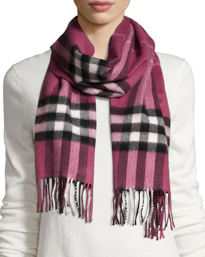 Chehelene Giant Check Cashmere Scarf, Dusky Heather