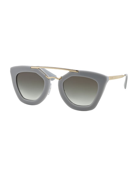 Acetate/Metal Cat-Eye Sunglasses
