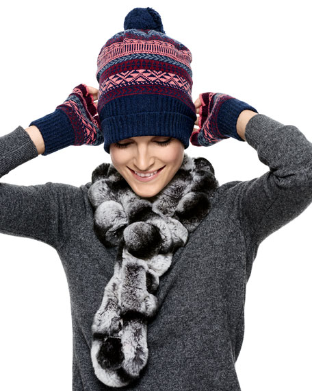 Cashmere Tribal Beanie, French Navy
