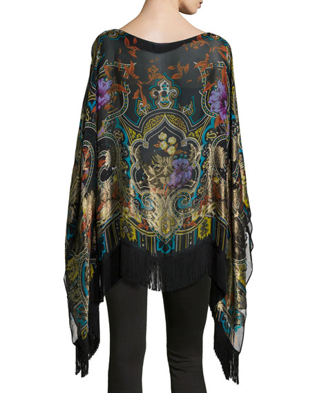 Image 3 of 3: Tapestry-Print Poncho with Fringe