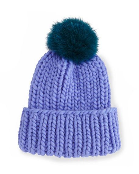 Eugenia Kim Rain Hat with Fur Pom Pom,