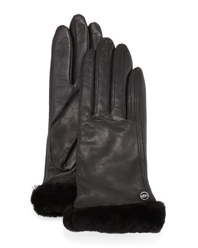 Classic Fur-Trim Leather Smart Gloves, Black