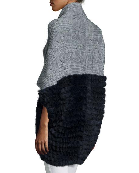 Knitted Cocoon Cardigan w/Rabbit-Fur-Trim