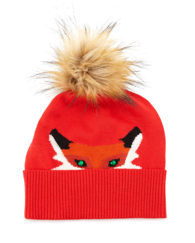 kate spade new york fox beanie hat with rhinestone detail  66d0aa6686b