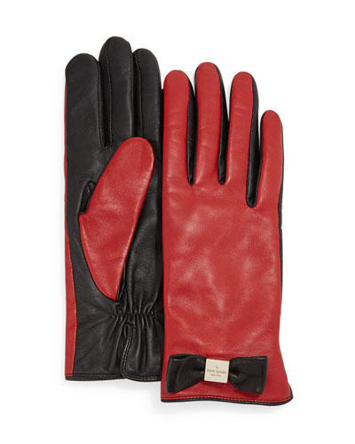 leather bow tech gloves