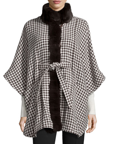 Houndstooth Cape w/Fur Trim, Brown