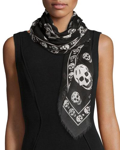 Skull Print Fringe-Edge Scarf, Black/White
