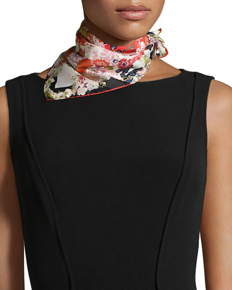 ST. PIECE CHLORIS FLORAL-PRINT SQUARE SCARF, RED