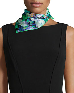 Demeter Floral-Print Square Scarf, Green