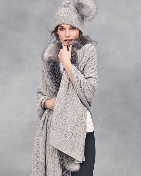 Cashmere Cable-Knit Hat w/Fur Pom Pom, Gray