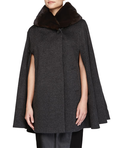 Mink Fur-Collar Cashmere Cape, Gray
