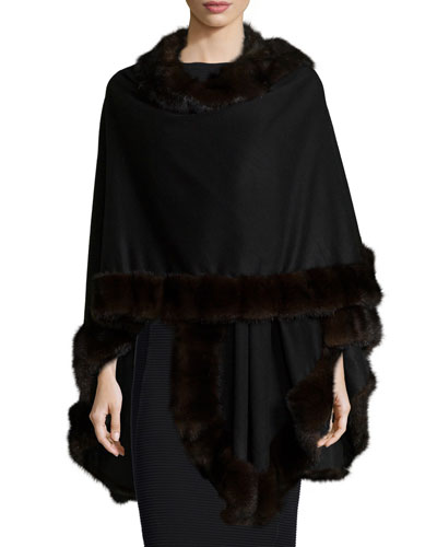 Mink-Fur-Trim Cashmere Cape, Black