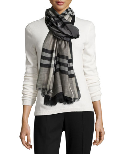 Ombre Giant Check Scarf, Charcoal