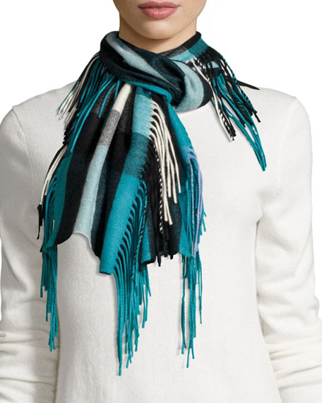 Burberry The Fringe Cashmere Half Mega-Check Scarf, Teal