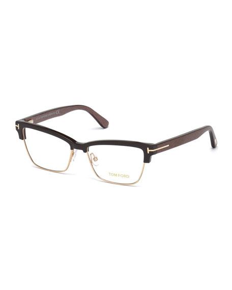 Square Dual-Rimmed Metal Fashion Glasses