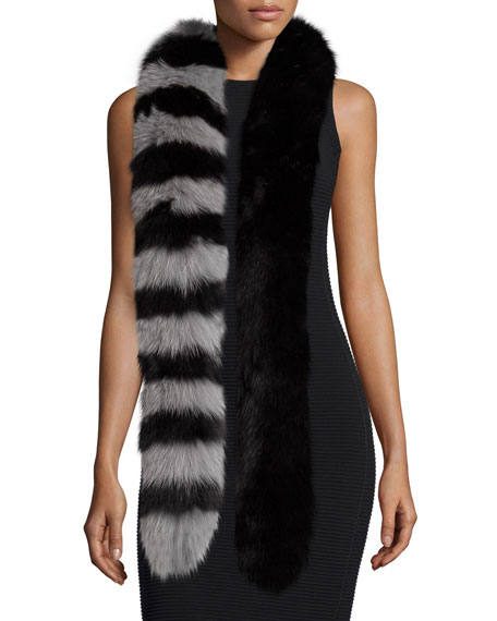 Charlotte SimoneCandy Cane Fox Fur Scarf, Black/Gray