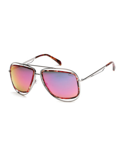 Dual-Rim Aviator Sunglasses, Pewter