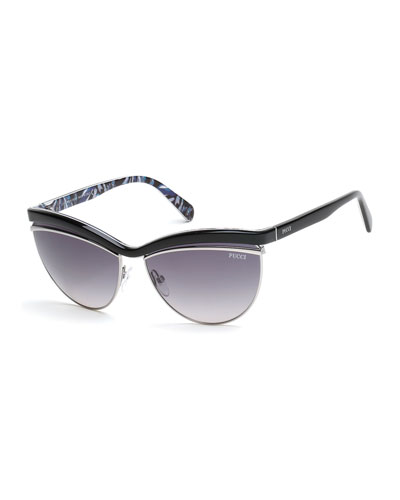 Flared-Brow Cat-Eye Sunglasses, Black