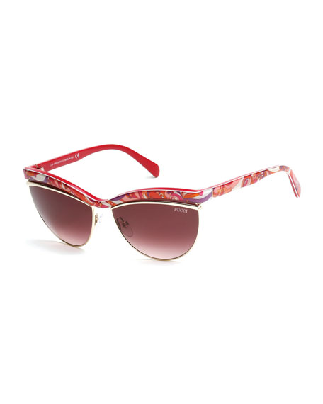 Emilio Pucci Flared-Brow Cat-Eye Sunglasses, Fuchsia