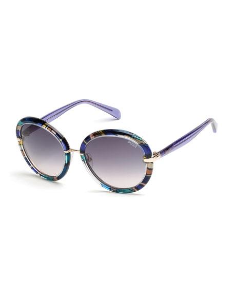 Emilio Pucci Round Printed Sunglasses, Blue