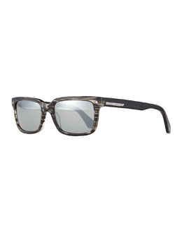 Striped-Acetate Sunglasses, Black/Gray