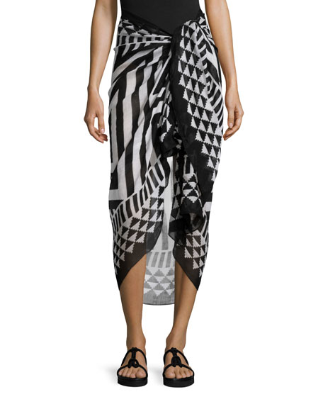 Theodora & Callum Zuma Geometric Summer Scarf, Black/White