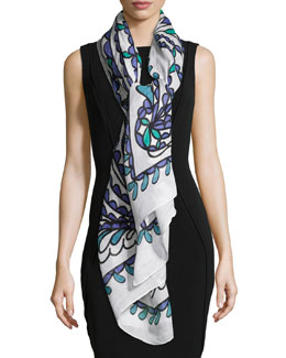 Papillon Summer Scarf, White Multi