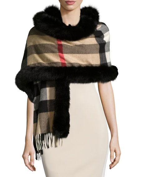 Burberry Fox-Fur-Trim Cashmere Mega-Check Scarf, Camel/Black