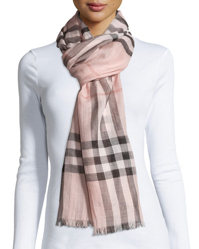 Gauze Giant Check Scarf  Rose