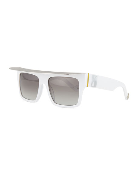 Anna-Karin Karlsson Shady Acetate Shield Sunglasses, White/Silver