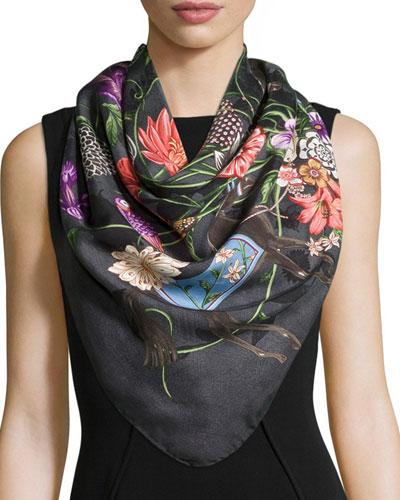 Ofelie Floral Silk-Twill Scarf