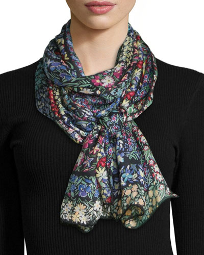 Patch Garden Silk Stole, Multicolor