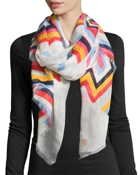 Tory Burch Striped Cotton-Silk Scarf w/ T Logo,