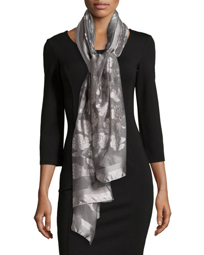 Silk-Blend Peony Fil Coupe Scarf, Gray