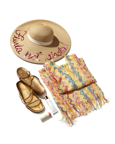 Eugenia Kim Bunny Embroidered Sun Hat, Sand/Pink