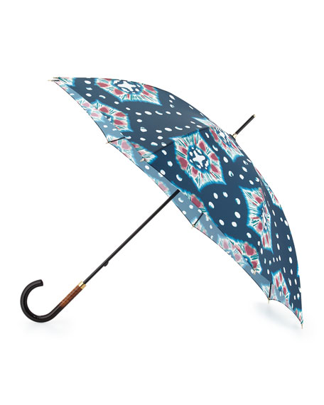 Burberry Prorsum Waterloo Tie-Dye Walking Umbrella, Teal/Green