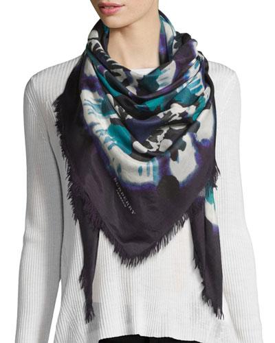 Square Floral Tie-Dye Scarf, Dark Purple
