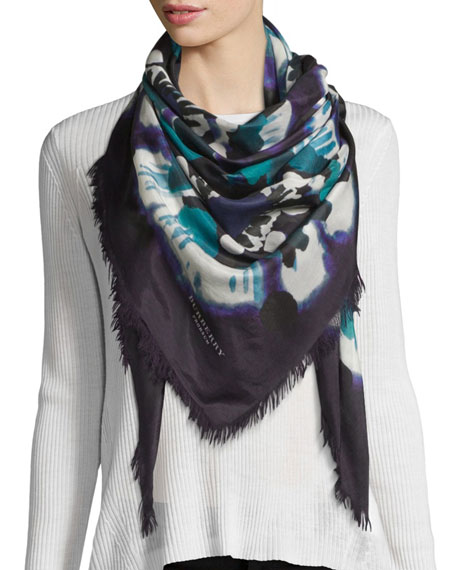 Burberry Square Floral Tie-Dye Scarf, Dark Purple