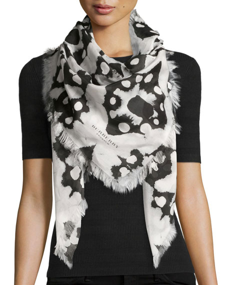 Burberry Square Tie-Dye Scarf, Black/White