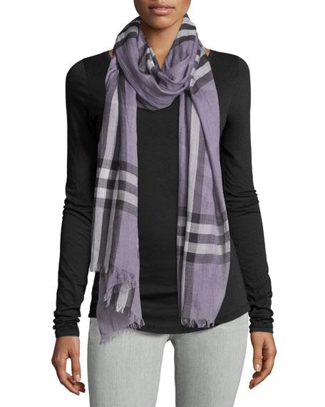 Burberry Giant Check Wool/Silk Gauze Scarf, Lilac